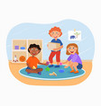 little happy kids are helping to pick up toys vector image
