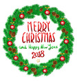 merry christmas and happy new year 2018 vintage vector image