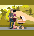 mom and dad are walking with baby vector image vector image