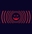 neon style halloween banner with ghost face vector image