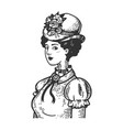 old fashioned woman engraving vector image vector image