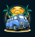 old van among coconut trees in summer on beach vector image vector image