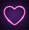 pink heart background on dark violet brick wall vector image vector image