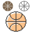 pixel icon basketball in three variants fully vector image