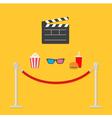 popcorn soda hamburger glasses clapping board red vector image vector image