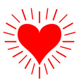 red heart shining line icon happy valentines day vector image vector image