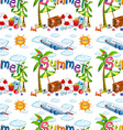 Seamless background with summer vacation vector image