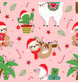 seamless pattern with christmas llama sloth vector image
