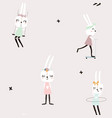 seamless pattern with cute rabbit girls creative vector image