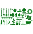set isolated green garden tools vector image vector image