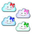 set of funny smiling clouds with ribbon bow vector image vector image