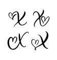set vintage floral letter monogram x vector image