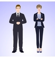 Smiling man and woman in office style wear vector image