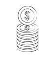 stacked dollar currency coins money vector image vector image