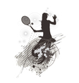 tennis girl on stain background vector image vector image