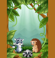 the little hedgehogs and raccoons are happy in the vector image