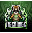 tiger mage esport mascot logo design vector image vector image