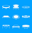 trampoline jumping park icons set simple style vector image vector image