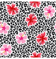 tropical seamless background with hibiscus flowers vector image vector image