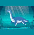 underwater dinosaur cartoon composition vector image vector image
