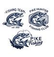 vintage pike fish logos fishing vector image