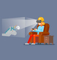 virtual reality glasses gamer young girl playing vector image vector image