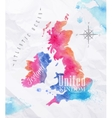 Watercolor map United kingdom and Scotland pink vector image vector image