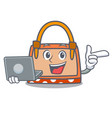 with laptop hand bag character cartoon vector image