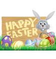 wooden sign happy easter bunny vector image vector image