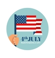 Independence Day in America hand holding USA flag vector image