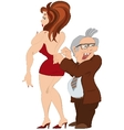 Cartoon man and girl in red dress vector image