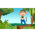 A monkey in the middle of the jungle vector image vector image
