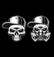 black and white graffiti skulls vector image