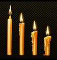 burning candle dripping or flowing wax realistic vector image