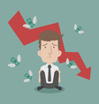 Businessman fail and money flying vector image