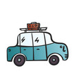 cartoon car with luggage on roblue retro car vector image