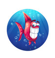 cartoon funny red fish vector image vector image