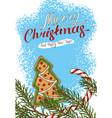 christmas postcard with gingerbrea vector image