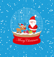 christmas santa claus and deer globe vector image vector image