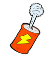 comic cartoon fizzing soda can vector image vector image