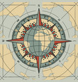 compass wind rose and globe planet earth vector image vector image