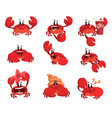 crab character with different emotions cute sea vector image