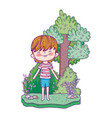 cute little boy in the landscape vector image vector image