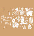 cute llamas alpacas cactuses and trees vector image vector image