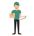 delivery boy with cardboard box and clipboard vector image vector image