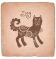 Dog Chinese Zodiac Sign Horoscope Vintage Card vector image vector image