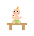 flat baby infant with nipple and diaper vector image