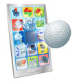 golf ball flying out cell phone vector image vector image