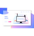 hacking credit card landing page template tiny vector image vector image