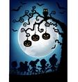 Halloween tree with children dressed up vector image vector image